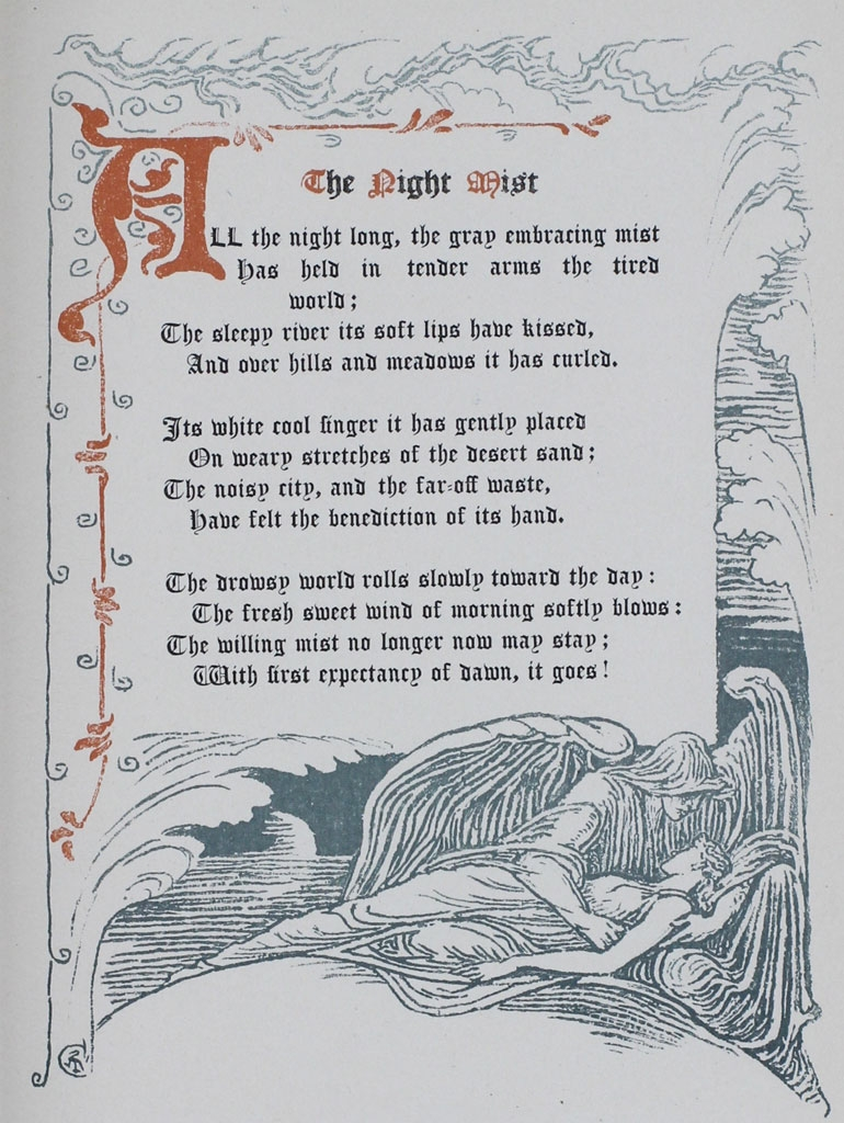 "Poem by Margaret Deland, ""A Night Mist,"" page 1, from ""The Old Garden"" decorated by Walter Crane. This edition is from 1894."
