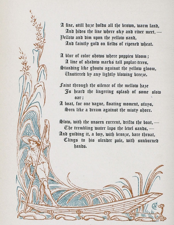"Poem by Margaret Deland,""A night Mist,""page 2, from ""The Old Garden"" decorated by Walter Crane. This edition is from 1894."