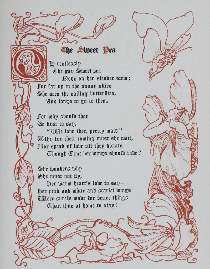 "Poem by Margaret Deland,""The Sweet Pea,"" from ""The Old Garden"" decorated by Walter Crane. This edition is from 1894."
