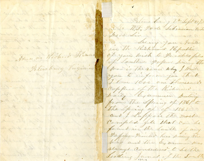 Page 1, right & Back, left: 1865 September 22 Letter to William Fredrick Poole from Richard Kennard. Boston Athenaeum Archive