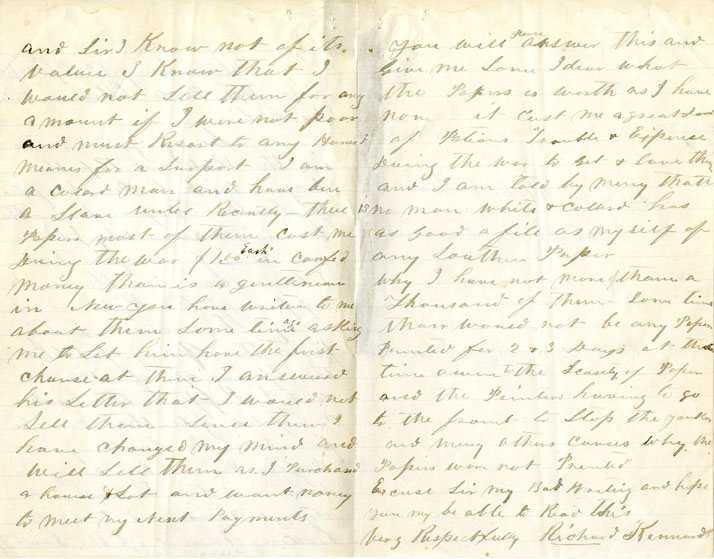 Page 2 & 3: 1865 September 22 Letter to William Fredrick Poole from Richard Kennard. Boston Athenaeum Archive