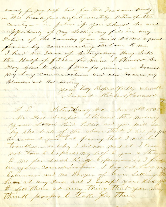 Page 2: 1865 October 3 & November 8, Letter to William Fredrick Poole from Richard Kennard. Boston Athenaeum Archive