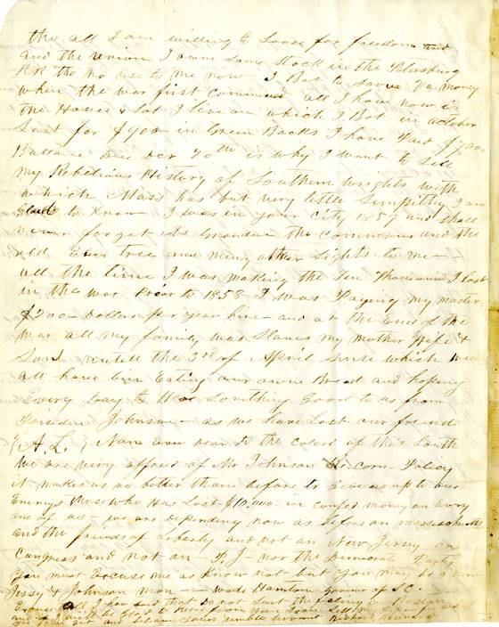 Page 4: 1865 October 3 & November 8, Letter to William Fredrick Poole from Richard Kennard. Boston Athenaeum Archive