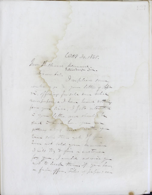 Pge 1: Copy of, 1865 October 30, Letter to Richard Kennard from William Fredrick Poole. Boston Athenaeum Archive