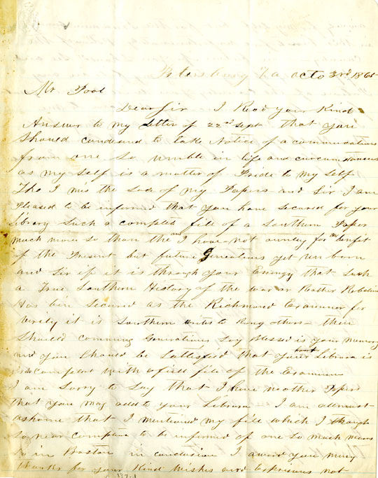 Page 1: 1865 October 3 & November 8, Letter to William Fredrick Poole from Richard Kennard. Boston Athenaeum Archive