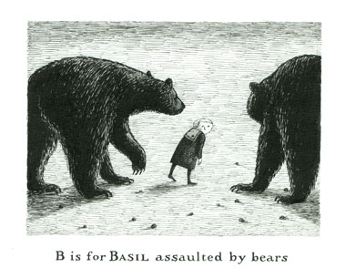Edward Gorey, B is for Basil assualted by bears. © 2011 The Edward Gorey Charitable Trust.