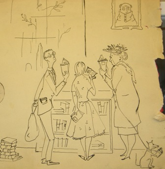 An drawing for a book sale from the 20th century, photo by Rachel Jirka.