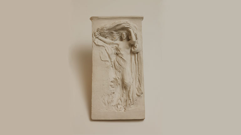 Daniel Chester French, Mourning Victory, Maquette, ca. 1906, plaster, 14 7/8 x 7 ¾ x 2 ¾ inches. Chesterwood, a National Trust Site, Stockbridge, Massachusetts, Gift of Daniel Chester French Foundation. Photograph by Paul Rocheleau, courtesy Chesterwood.