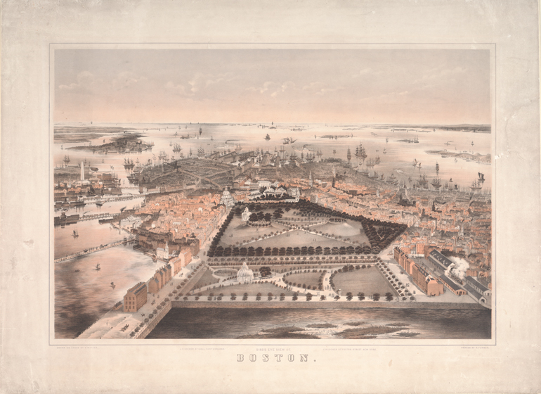 Matter, C., lithographer. Bird's-eye view of Boston., ca. 1855.  New York: Published by J.H. Locher; Printed by R. Furrer.  Boston Athenæum.