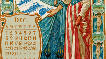 L. Prang & Co. after Walter Crane (1845-1915), Calendar for 1895, 1894. Chromolithograph. Boston Athenaeum. Gift of Charles E. Mason Jr., 1977.