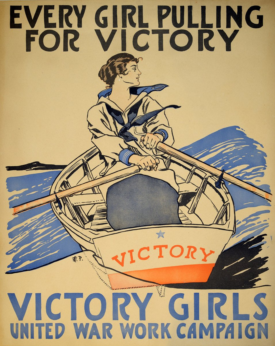 Edward Penfield (1866-1925), Every Girl Pulling For Victory, Victory Girls United War Work Campaign, 1918. Color lithograph. Purchase, Bartlett Hayes Jr. Poster Fund, 2016
