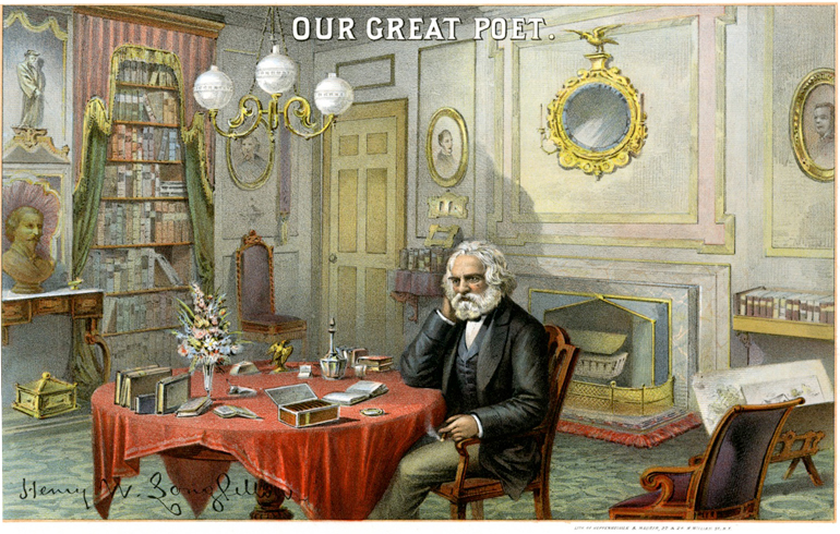 Heppenheimer & Maurer, Our Great Poet. Henry W. Longfellow., ca. 1880. Chromolithographic cigar box label. Boston Athenæum Purchase, Charles E. Mason Jr. Print Fund, 2012