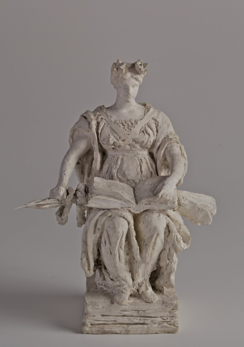 Daniel Chester French (1850-1931), Alma Mater, Sketch Model, 1900, plaster. Chesterwood, a National Trust Site, Stockbridge, Massachusetts, Bequest of Margaret French Cresson. Photograph by Paul Rocheleau, courtesy Chesterwood.