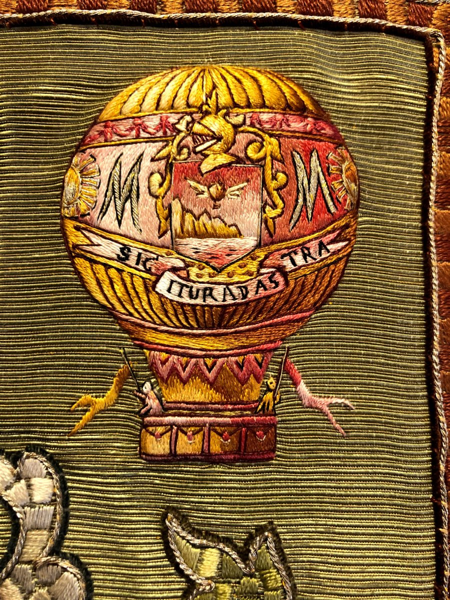 Detail of embroidered French binding: balloon history.
