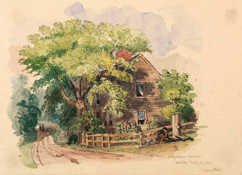 Edward Clarke Cabot Boston, Algerine Corner, Milton, 1851 Watercolor with ink.