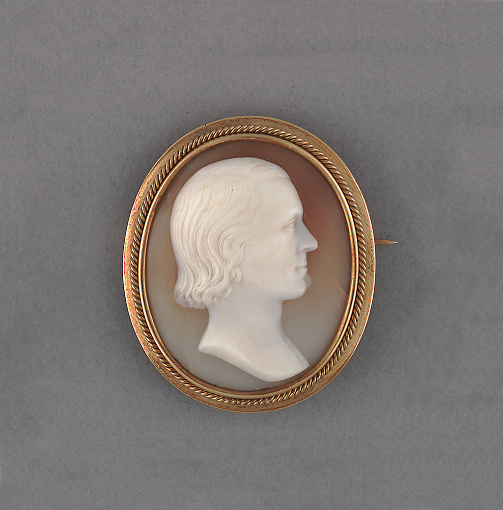 William Root Bliss, 1869.  Red-tan shell cameo relief by Augustus Saint-Gaudens