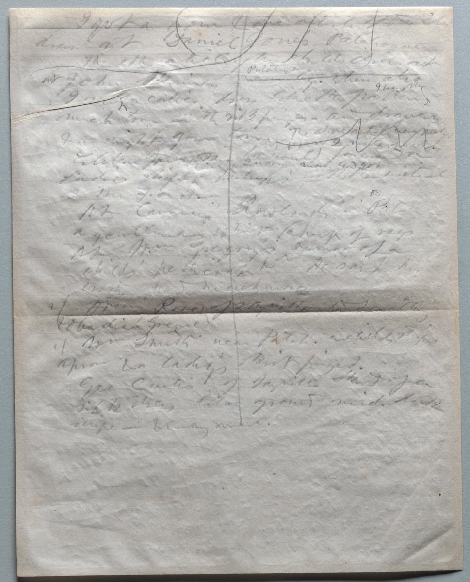 Sheet #7 of Thoreau's notes after treatment. The image shows the indentations of Thoreau's pencil made as he wrote on the back side of the sheet (Credit Karen Walter).