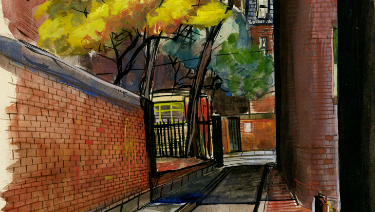Allan Rohan Crite (1910-2007), Autumn Comes to an Alley (detail), 1939. Watecolor, ink, and gouache. Boston Athenaeum. Gift of the artist, 1971.