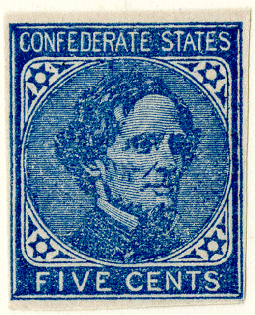 Confederate Five Cent Stamp.