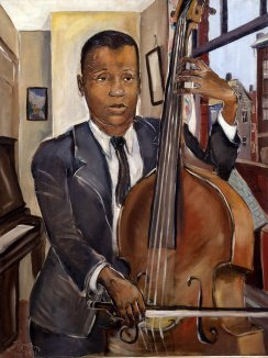 Allan Rohan Crite (1910-2007), Bass Violin Player, 1941. Oil on canvas, 33 7/16 x 26 3/16 in. (85 x 66.5 cm). Gift of the artist, 1971 (UR78).
