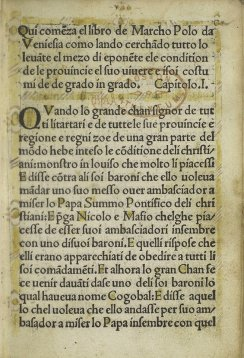 Page from Marco Polo's 1496 travelogue