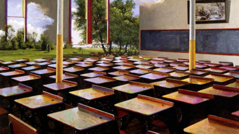 George Deem, Everybody's Schoolroom, 1994. Oil on canvas, 34 x 46 in. (86.4 x 116.8 cm). Collection of Cleary Gottlieb Steen & Hamilton, LLP, New York