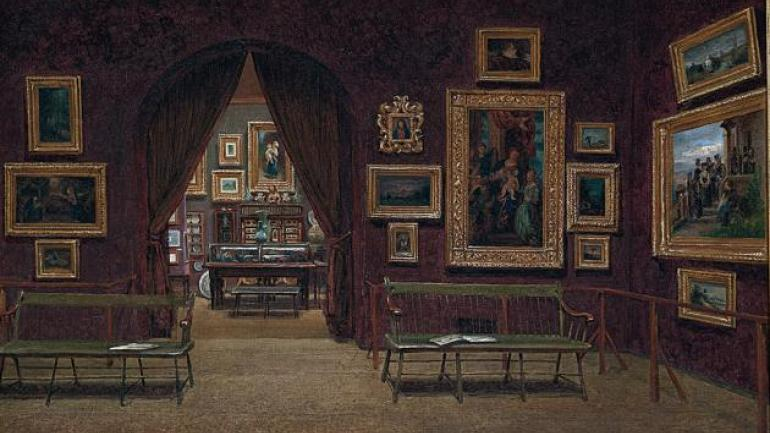 Enrico Meneghelli (1853–after 1912), Picture Gallery of the Boston Athenæum (detail), 1876. Athenæum purchase, 1876