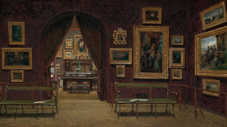Enrico Meneghelli (Italy 1853—after 1912), Picture Gallery of the Boston Athenæum, 1876. Oil on canvas. Boston Athenæum, Purchase, 1876.