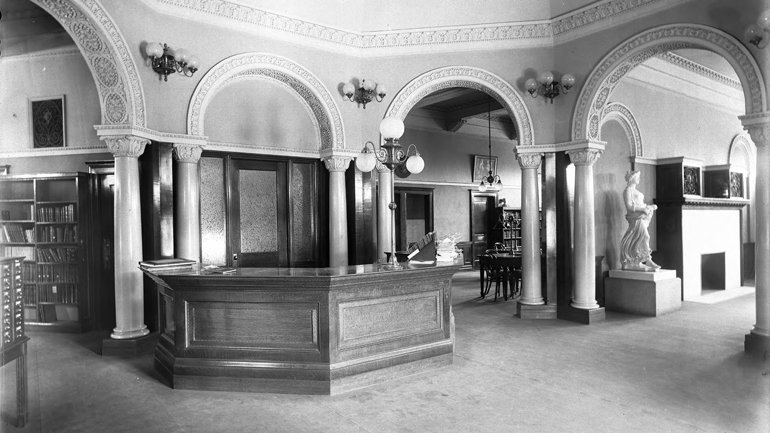 Our inspiration: Circulation desk at Pomona Public Library, ca. 1900