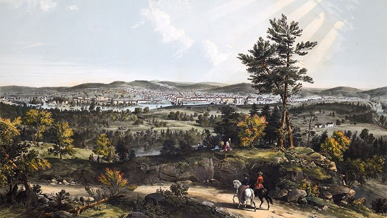 After John B. Batchelder (1825-1894), A View of Manchester N.H., 1855. Hand-colored lithograph. Purchase, Katharine Lane Weems Print Fund, 2014