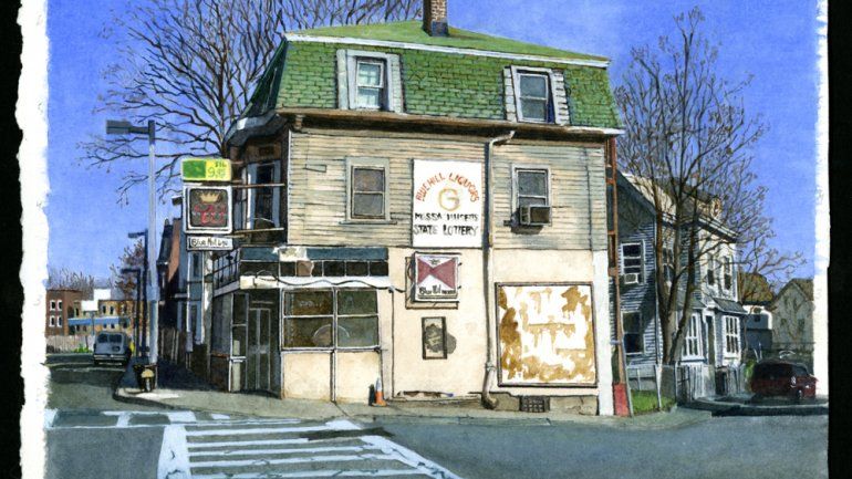 Kate Sullivan Blue Hill Liquors, 2013 Watercolor over graphite. Purchase, Frances Hovey Howe Fund, 2014