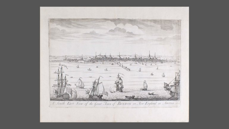 A South East View of the Great Town of Boston in New England in America, about 1737