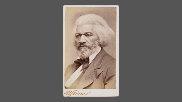 Carte de visite portrait of Frederick Douglass, about 1879