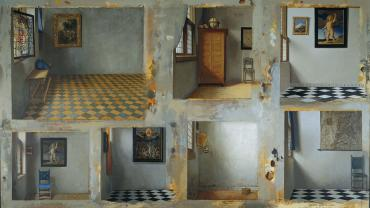George Deem, Seven Vermeer Corners, 1999  Oil on canvas, 50 x 86 in.  Private collection