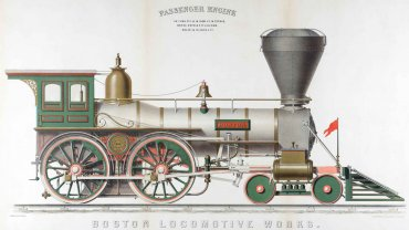 J. H. Bufford's Lith. after Ransom C. Wright (1835-1911), Boston Locomotive Works, 1858. Chromolithograph with bronze powders. Boston Athenæum, purchase, Katharine Lane Weems Print Fund, 2015.