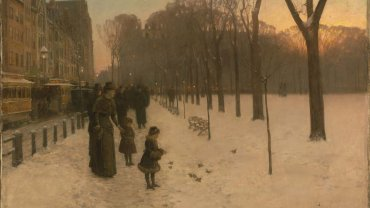 Childe Hassam, American, 1859–1935. At Dusk (Boston Common at Twilight), 1885–86. Oil on canvas.