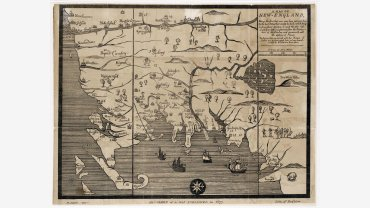 John Foster, A Map of New England, Being the first that ever was here cut…, Boston, 1826. 11 ¾ x 15 inches, lithographic facsimile by Pendleton of original 1677 map, Purchase 2007