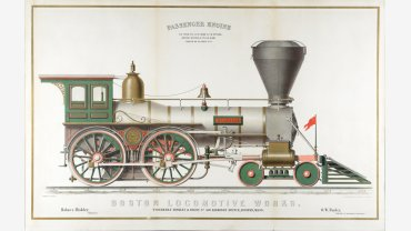After Ransom C. Wright (1835-1911), Boston Locomotive Works, 1858. Chromolithograph with metallic powders. Purchase, Katharine Lane Weems Print Fund, 2015