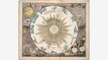 Johanne Gabriele Doppelmayr, Systema Solare et Planetarium ex hypothesi Copernicana secundium elegantissimas Illustisimi quondam Hugenij deductions novissime collectum & exhibitum…Nuremburg, 1742. 19 by 22 inches plus margins Purchased in Memory of John F. Bok and in Honor of Joan T. Bok with funds supplied by Frederick Goldstein, a Proprietor, 2015