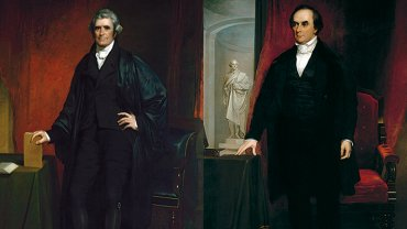 Details of painted portraits of John Marshall and Daniel Webster by Chester Harding.