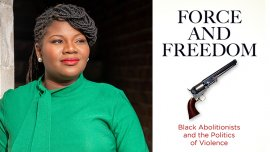 """Kellie Carter Jackson and the cover of her book """"Force and Freedom"""""""