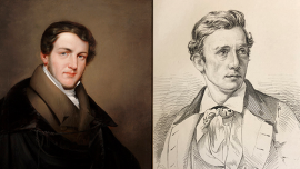 Painted portrait of Horatio Greenough next to black and white engraved portrait of Thomas Crawford.
