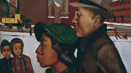 Detail of a painting with two Black adults and two Black children in the foreground.