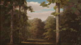 Oil paintings of a path through a forest with clouds in a blue sky.