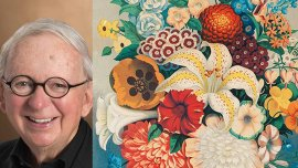 Headshot of Thomas Mickey next to a close up of a print of a colorful bouquet of flowers.