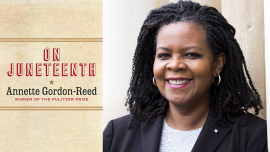 Cover of On Juneteenth beside photo of Author Annette Gordon-Reed