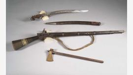 Lawrence collection: Gun, Iranian; Battle Axe, Indian; Sword &Scabbard, Turkish