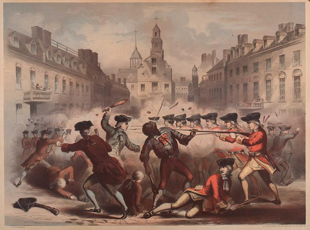 William L. Champney. (fl. 1850-1857). Boston Massacre, March 5th, 1770. Boston, Published by Henry Q. Smith, 1856. Chromolithograph, 17 ¾ x 24 in.