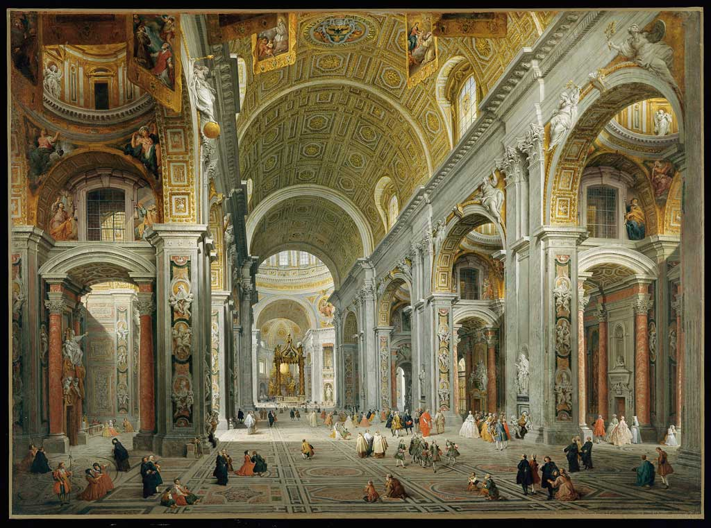 "Giovanni Paolo Panini, ""Interior of St. Peter's, Rome,"" 1756-1757"