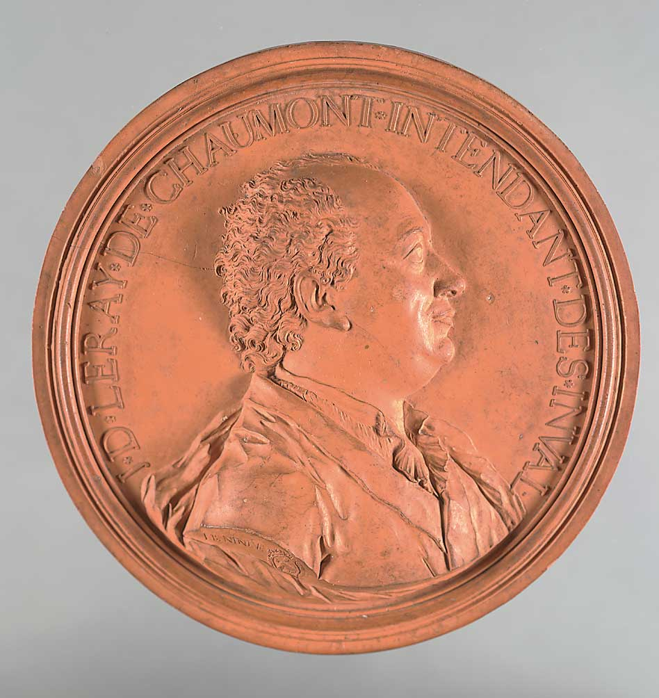 "Jean-Baptiste Nine, ""Jacques-Donatien Le Ray de Chaumont,"" ca. 1779. Terracotta medallion. Gift of Vincent Umberto Coletti-Perucca, 1954."